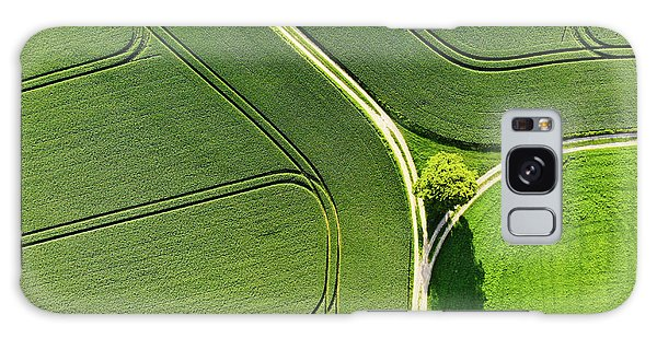 Geometric Landscape 05 Tree And Green Fields Aerial View Galaxy Case