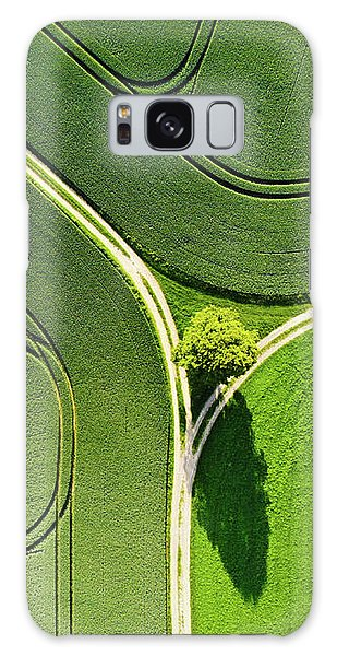 Galaxy Case featuring the photograph Geometric Landscape 05 Tree And Green Fields Aerial View by Matthias Hauser