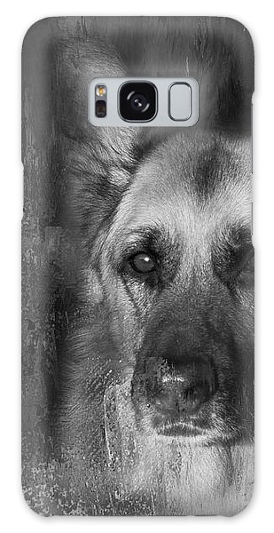 German Shepherd In Black And White Galaxy Case by Eleanor Abramson