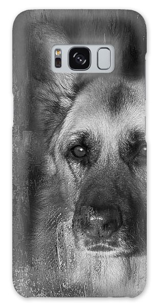 German Shepherd In Black And White Galaxy Case