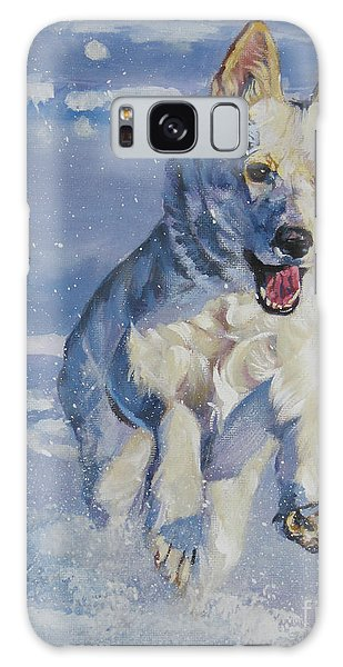 German Shepherd White In Snow Galaxy Case by Lee Ann Shepard