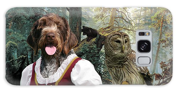 German Wirehaired Pointer Art Canvas Print - Lady Owl And Little Bears Galaxy Case
