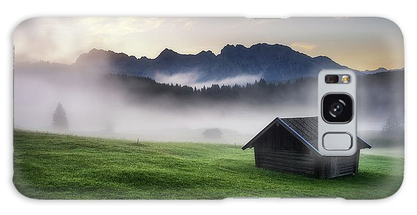Geroldsee Forest With Beautiful Foggy Sunrise Over Mountain Peaks, Bavarian Alps, Bavaria, Germany. Galaxy Case
