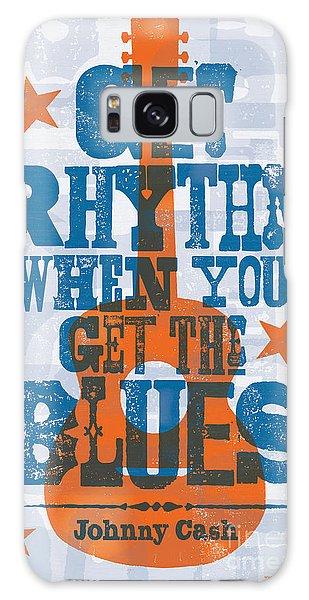 Get Rhythm - Johnny Cash Lyric Poster Galaxy Case