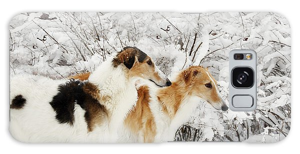 giant Borzoi hounds in winter Galaxy Case by Christian Lagereek