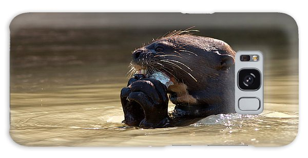 Giant Otter Eating Fish Galaxy Case