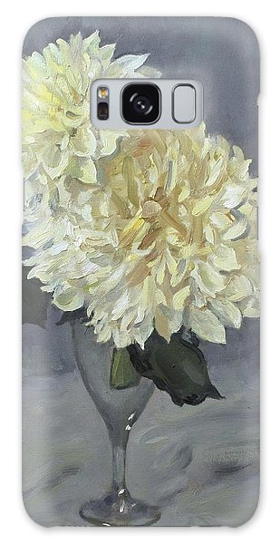 Giant White Dahlias In Wine Glass Galaxy Case