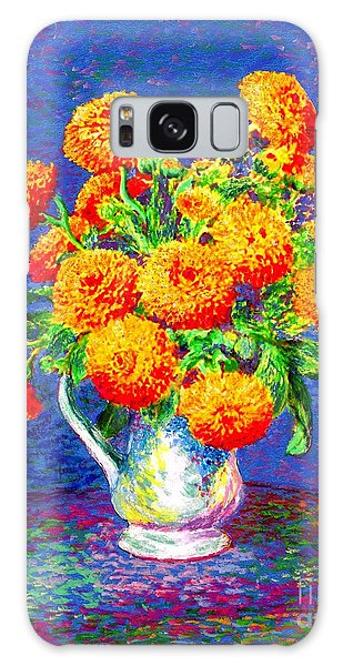 Gift Of Gold, Orange Flowers Galaxy Case by Jane Small