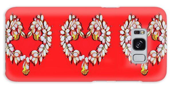 Ginger Flower Hearts Galaxy Case by Debbie Chamberlin
