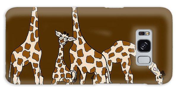 Giraffe Family Portrait Brown Background Galaxy Case