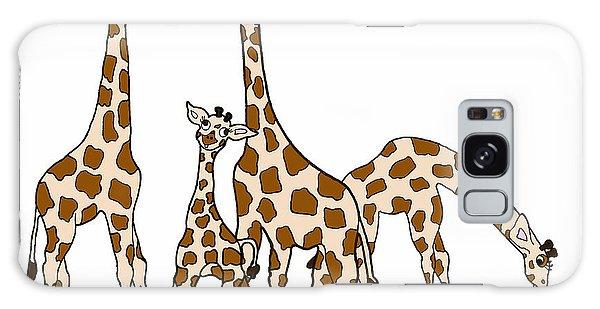 Giraffe Family Portrait In Brown And Beige Galaxy Case