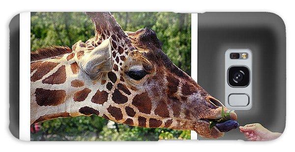 Giraffe Feeding Out Of Frame Galaxy Case