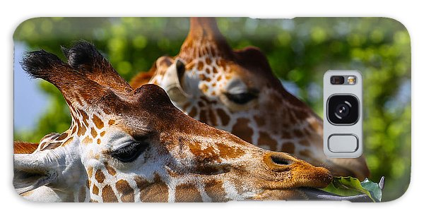 Galaxy Case featuring the photograph Giraffe Feeding Time by Dart and Suze Humeston