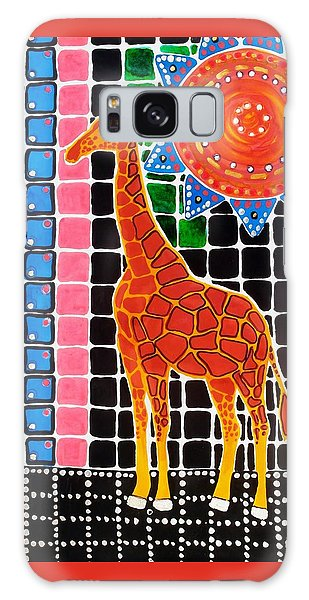 Galaxy Case featuring the painting Giraffe In The Bathroom - Art By Dora Hathazi Mendes by Dora Hathazi Mendes
