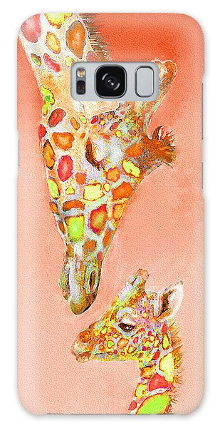 Giraffe Love- Orange Galaxy Case by Jane Schnetlage