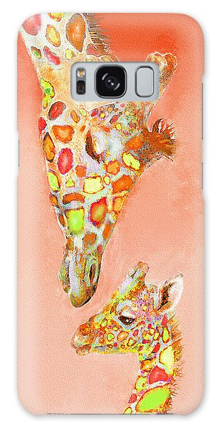 Giraffe Love- Orange Galaxy Case by Jane Schnetlage