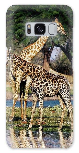 Giraffe Mother And Calf Galaxy Case