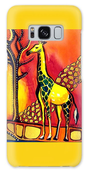 Giraffe With Fire  Galaxy Case by Dora Hathazi Mendes