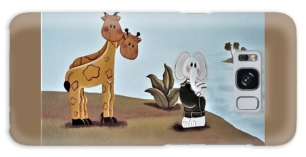 Giraffes, Elephants And Palm Trees Galaxy Case