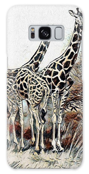 Galaxy Case featuring the digital art Giraffes by Pennie McCracken