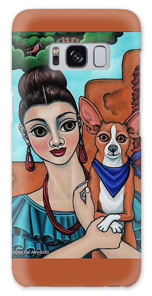 Girl Holding Chihuahua Art Dog Painting  Galaxy Case