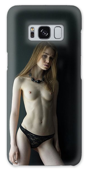 Girl In Front Of Black Wall Galaxy Case
