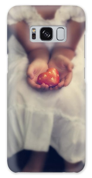 Girl Galaxy Case - Girl Is Holding A Heart by Joana Kruse