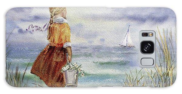 Galaxy Case featuring the painting Girl Ocean Shore Birds And Seashell by Irina Sztukowski