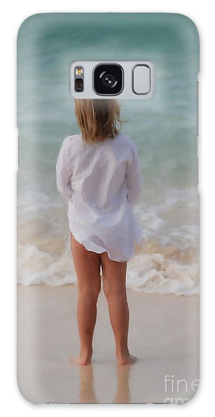 Girl On The Beach Galaxy Case by Jan Daniels