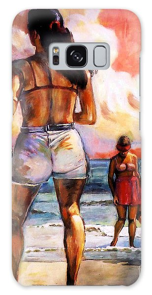 Girl On The Beach Galaxy Case