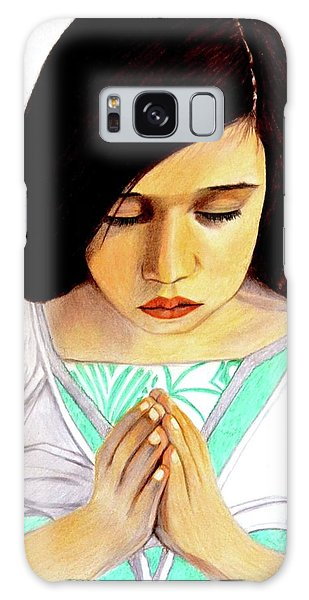 Girl Praying Drawing Portrait By Saribelle Galaxy Case