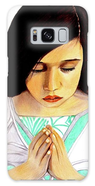 Girl Praying Drawing Portrait By Saribelle Galaxy Case by Saribelle Rodriguez