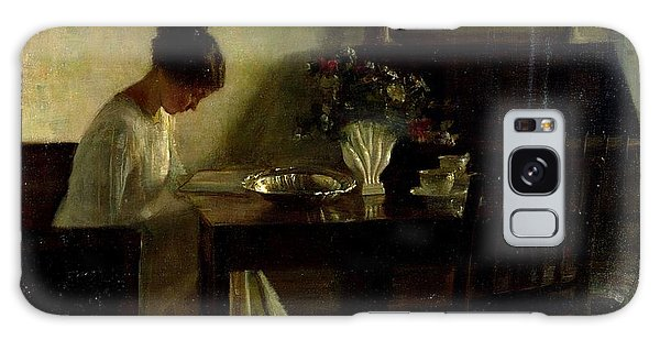 Table Galaxy Case - Girl Reading In An Interior  by Carl Holsoe