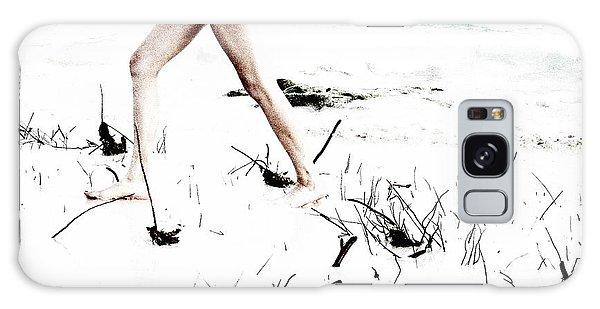 Girl Walking On Beach Galaxy Case