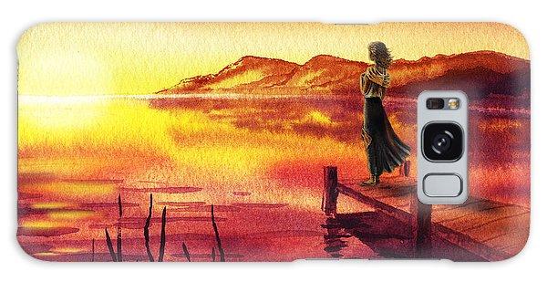 Galaxy Case featuring the painting Girl Watching Sunset At The Lake by Irina Sztukowski