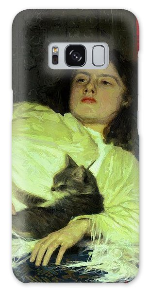 Girl With A Cat 1882 Galaxy Case
