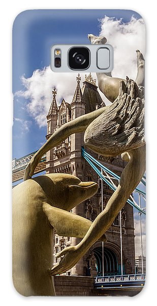 Girl With A Dolphin Fountain Galaxy Case