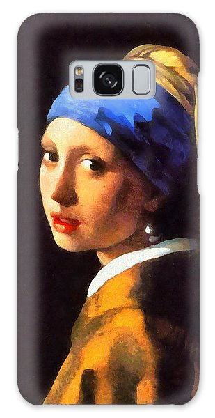 Girl With A Pearl Earring Galaxy Case - Girl With A Pearl Earring By Johannes Vermeer Revisited by Leonardo Digenio