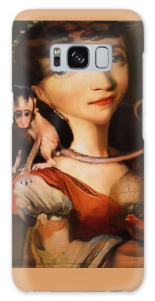 Girl With A Pet Monkey Galaxy Case