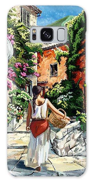Girl With Basket On A Greek Island Galaxy Case