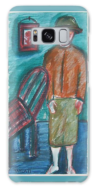 Girl With Chair Galaxy Case
