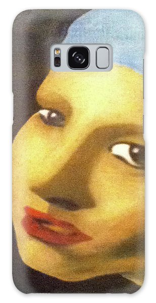 Galaxy Case featuring the painting Girl With Pearl Earring Face by Jayvon Thomas
