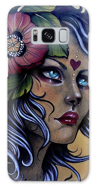 Girl With Poppy Flower Galaxy Case