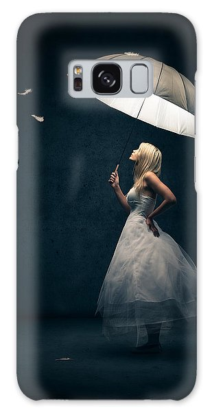 Girl With Umbrella And Falling Feathers Galaxy Case