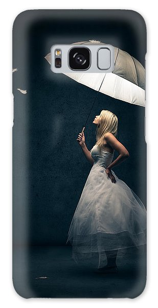 Girl With Umbrella And Falling Feathers Galaxy Case by Johan Swanepoel
