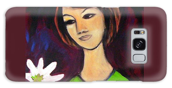 Galaxy Case featuring the painting Girl With White Flower by Winsome Gunning