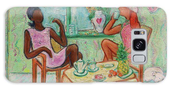 Galaxy Case featuring the painting Girlfriends' Teatime V by Xueling Zou