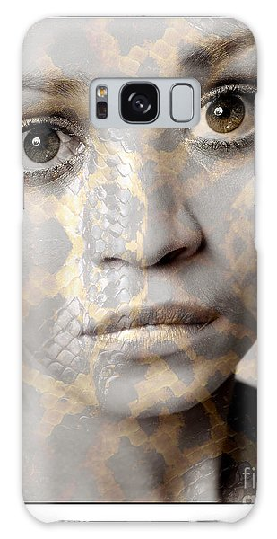 Girls Face With Snake Skin Texture Galaxy Case