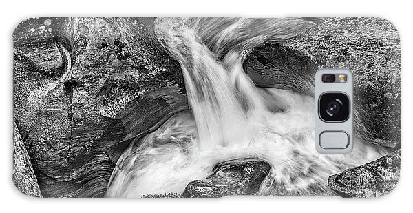 Glacier National Park's Avalanche Gorge In Black And White Galaxy Case