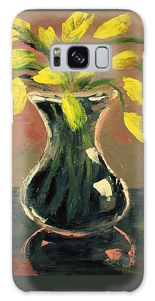 Glass Vase And Yellow Flowers Galaxy Case